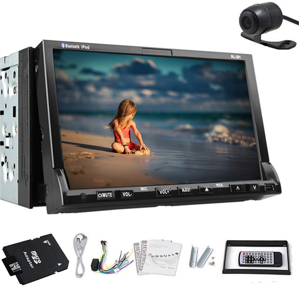 New GPS Navigation Map + Back Camera +In Deck 7'' Double 2 DIN Car CD/DVD Player Radio IPOD Navigation GPS Car Stereo PC