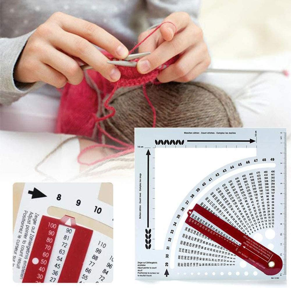 Knitting Gauge Converter Knit Counter Calculator Density Ruler,for Knitting Works Crafts and Sweater