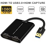HDMI Capture,HDMI to USB 3.0,Full HD 1080P Live Video Capture Game Capture Recording Box,HDMI USB 3.0 Adapter Video and…