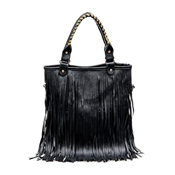 Amazon.com  Fashion Story Fringe Vintage Messenger Hobo Cross Body Shoulder  Top Handle Bag Summer Tassel Women (black)  Baby f0afe5f7e02c9