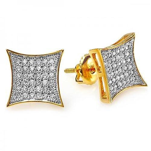 Pendientes hip hop de Oro amarillo y diamantes de 0,33kthttps://amzn.to/2KLNOjW