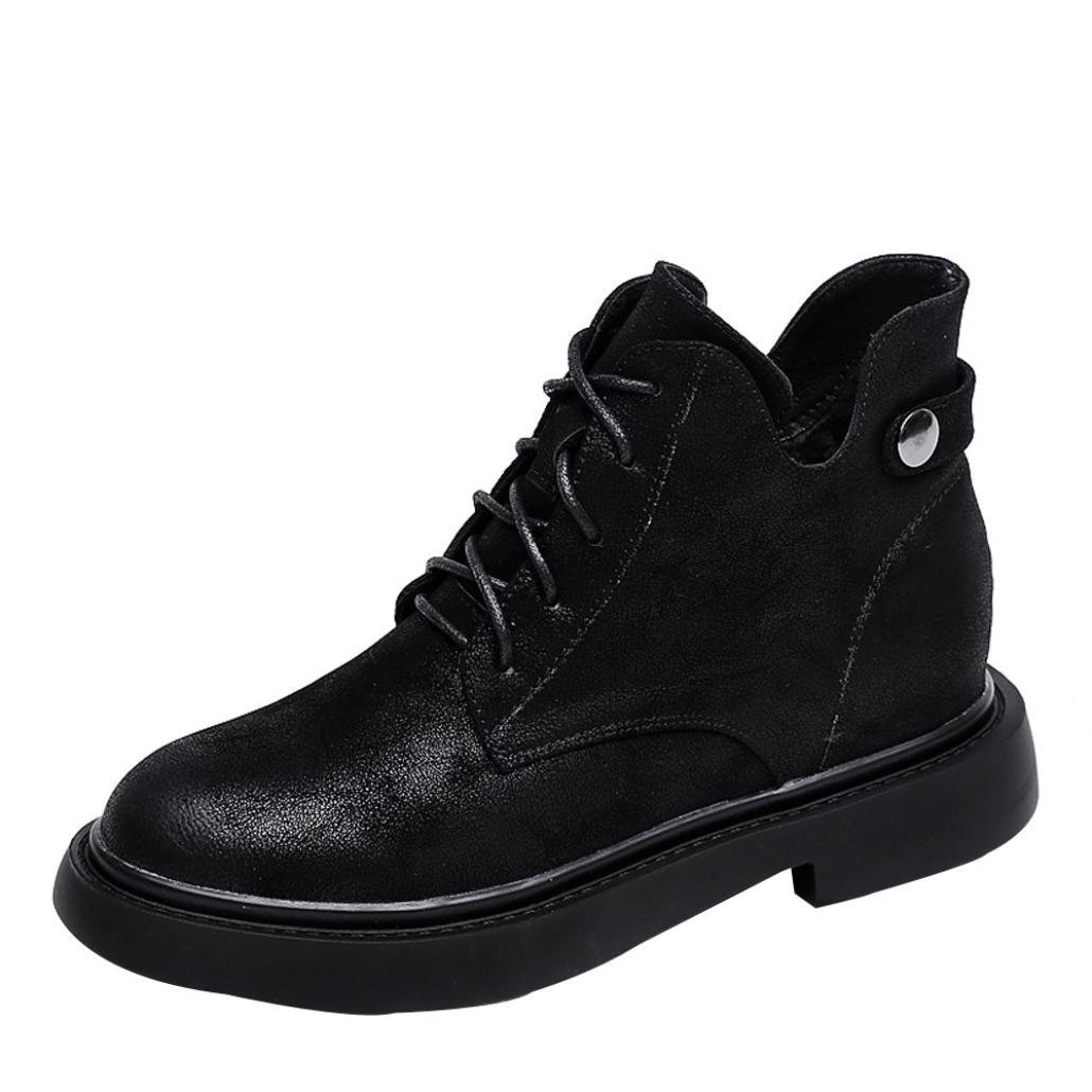 Womens Girls Flats Combat Booties 5.5-7.5,Casual Round Toe Lace-up Boots (Black, US:7.5)