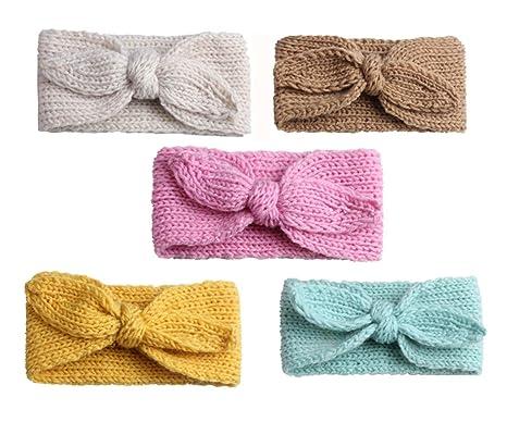 Freessom Lot de 5 Bandeau Bébé Fille Cheveux Hiver Lapin Oreille Tricot  Coton Kawaii Elastique Hairband cf99dd80caa