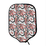 YOLIYANA Grunge Durable Racket Cover,Twisting Lines Curves Abstract Worn Looking Shapes African Influences Decorative for Sandbeach,One Size