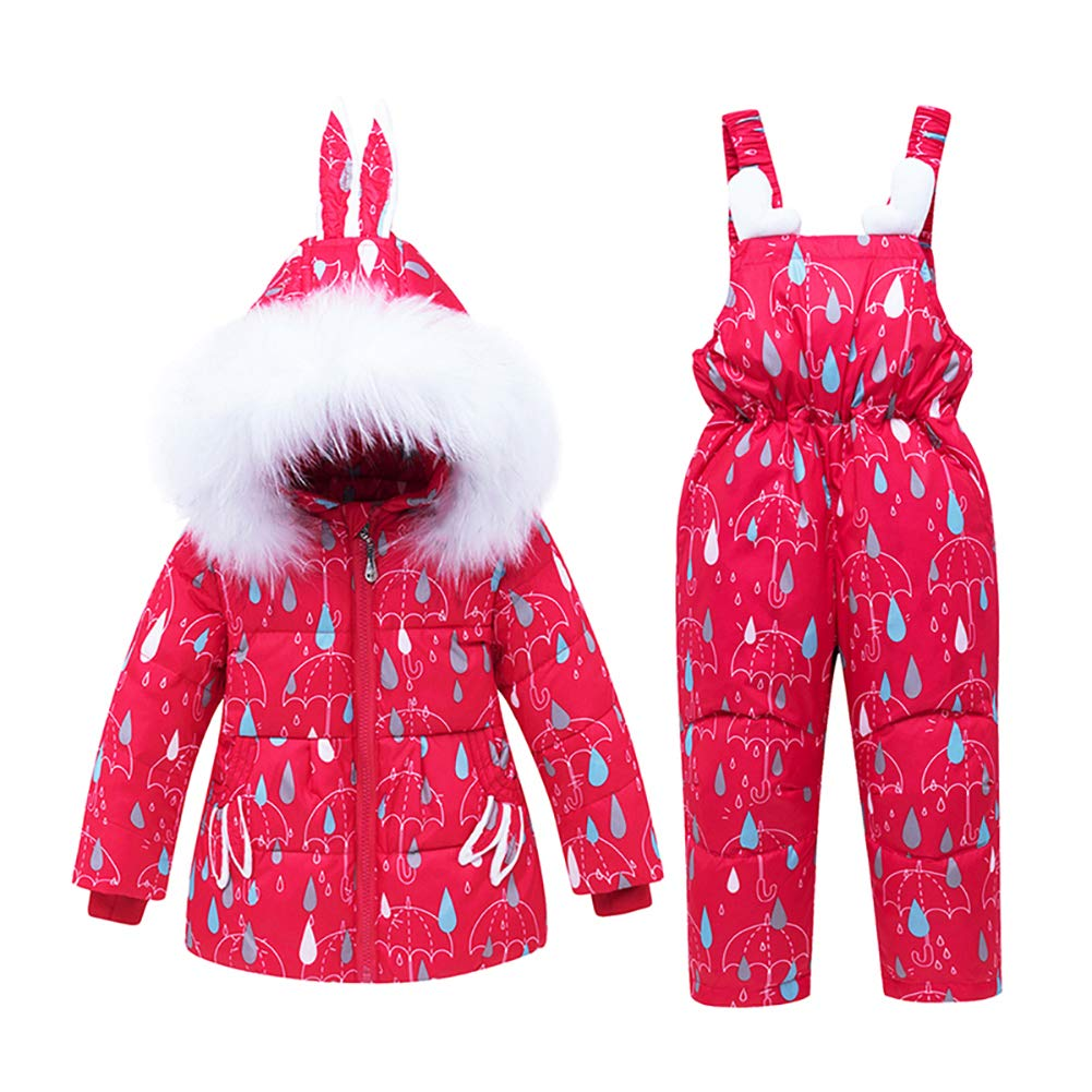 CARETOO Baby Boys Girls Winter Down Coats Snowsuit Outerwear 2Pcs Clothes Hooded Jacket Snow Ski Bib Pants Outfits Set by CARETOO
