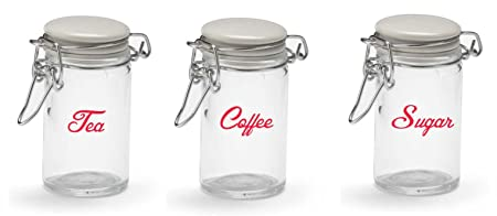 Kitchen Glass Storage Jar LABELS STICKERS (Cherry Red) JARS NOT INCLUDED