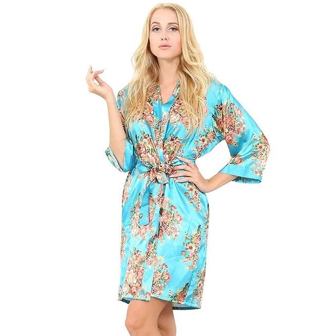 Albornoz para Mujer Manga 3 4 Cuello En con V Estampado Floral Chic Ropa Kimono Elegante Pijama De Moda Vintage Camisón Ropa De Dormir: Amazon.es: Ropa y ...