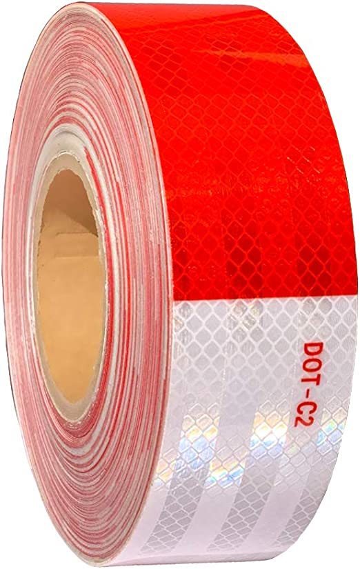 "RED 11/""-7/"" REPEATING  Reflective   Conspicuity Tape 4/""x150 Ft WHITE"