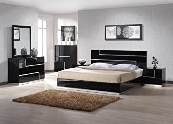 J M Furniture Lucca Black Lacquer With Crystal Accents Queen Size Bedroom Set