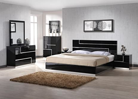Ju0026M Furniture Lucca Black Lacquer With Crystal Accents Queen Size Bedroom  Set
