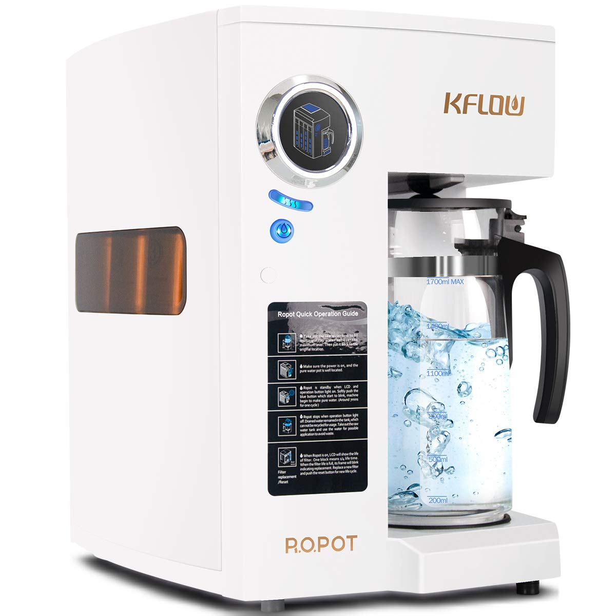 KFLOW Reverse Osmosis Water Filtration System, Countertop RO Water Filter with Exclusive 4 - Stage, Alkaline Drinking Water Purifier (Zero Installation & No Plumbing Required)