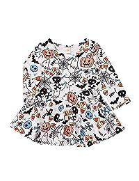KONFA Teen Baby Girls Long Sleeve Ghosts Pumpkins Pumpkins Dress,Little Princess Halloween Skirt Costume Set
