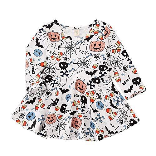 Kids Baby Girls Pumpkin Toddler Tutu Dress, Long Sleeve Cartoon Print Dress Halloween Clothes (100, White) -