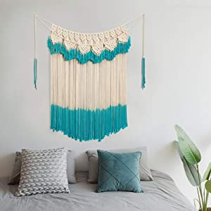 "ARTALL Wall Hanging Macrame Curtain Fringe Banner Bohemian Wall Decor Woven Tapestry Home Decoration for Wedding Apartment Bedroom Living Room Gallery 42"" x 57"" Ivory and Teal"