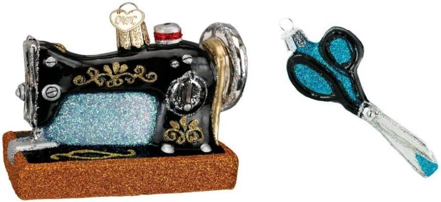 Máquina de coser y costura tijeras cristal soplado adornos de ...