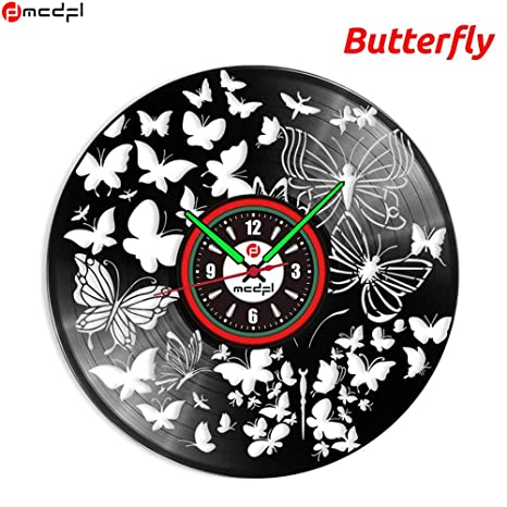 Decoración Reloj 3d Night Pared Vinilo Black Mariposa Sticher De n0mvN8Ow