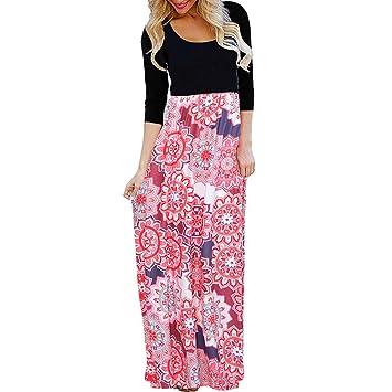 17a91d9e37aae Discount,Robe de Plage,Vêtements Femme,Trois Quarts Manche Floral Imprimer  Stripe Décontractée