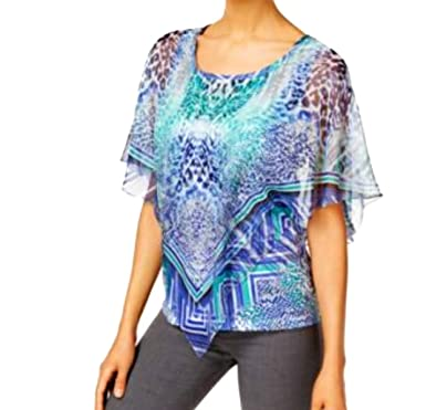 8f1f3379e47 JM Collection Women s Printed Embellished Poncho Visual Control XL ...