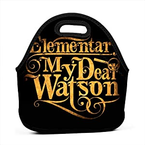 Elementary My Dear Watson Sherlock Holmes Quote Reusable Lunch Tote Bag Waterproof Picnic Lunch Box For School Road Walking And Office- Waterproof/Warm/Cooler
