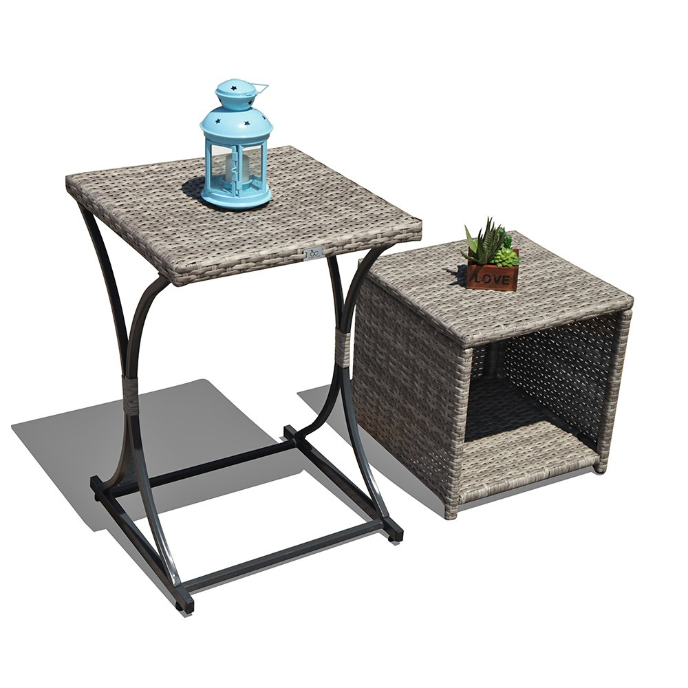 OC Outdoor Wicker Side Table Multifunction End Storage Table Patio Coffee Table for Garden Poolside Set of 2, Black