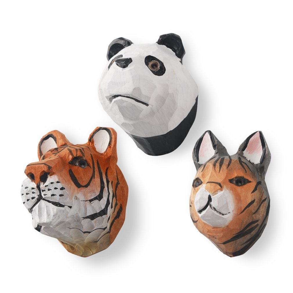 VNthings Fun decorative fridge magnets,Handcrafted wood cute animals refrigerator magnet(3 Sorted pack) (Tiger,panda, cat)