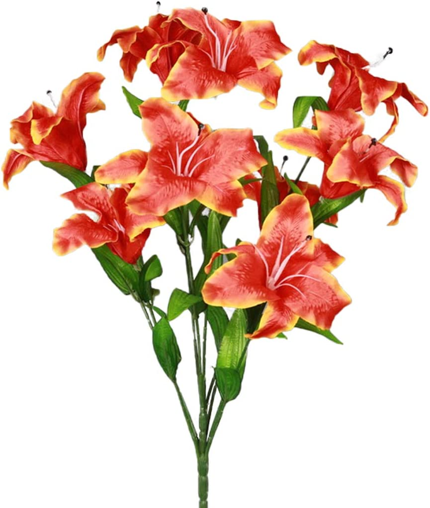 SN Decor Artificial Flowers Tiger Lily Fake Flowers for Wedding Home Party Garden Shop Office Decoration 1 Bouquet with 9 Heads Stargazer Lilies (Orange)