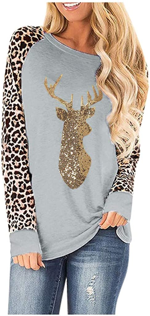 MmNote Womens Leopard Print Color Block Shirts Crewneck Sweatshirts Blouse Casual Long Sleeve Patchwork Pullover Tops