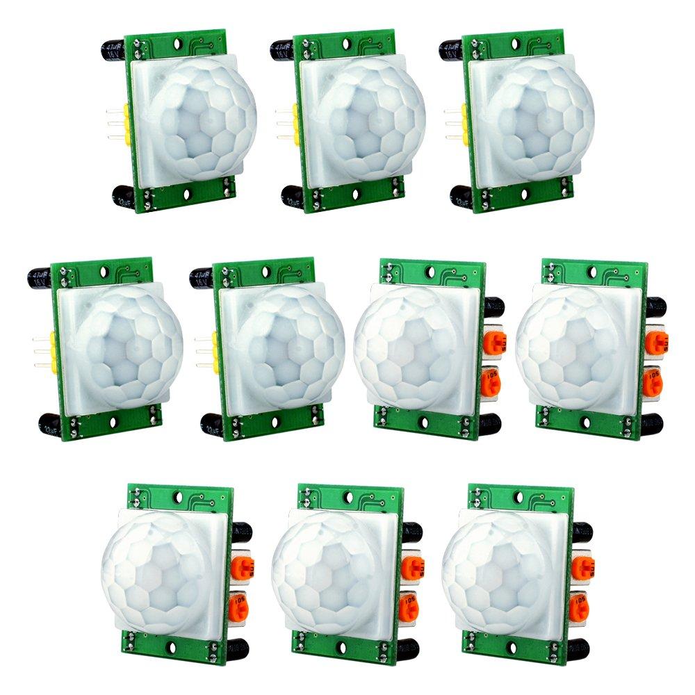 ... Módulo Sensor de Movimiento Infrarrojo PIR, Kuman 10 x HC-SR501 Ajustar Ir Human body Módulo Detector para Arduino UNO R3 Mega 2560 Nano Raspberry pi ...
