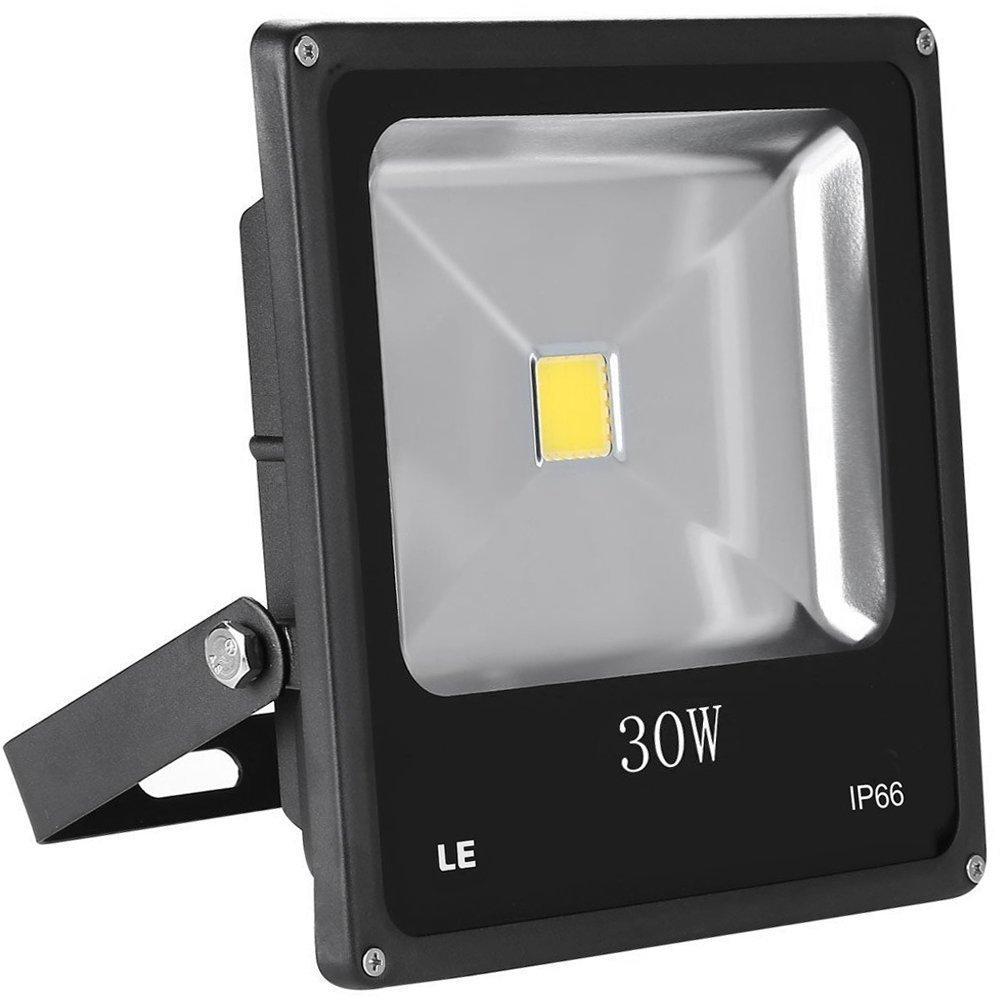 LE 30W Super Bright Outdoor LED Flood Lights, 75W HPS Bulb Equivalent, Waterproof, 2250lm, Daylight White, 6000K, Security Lights, Floodlight (No Plug)