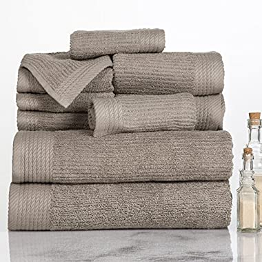 Lavish Home Ribbed 100% Cotton 10 Piece Towel Set - Taupe