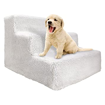Imperial Home Soft Folding 3 Step Dog Stairs   12 Inch High Collapsible Pet  Steps