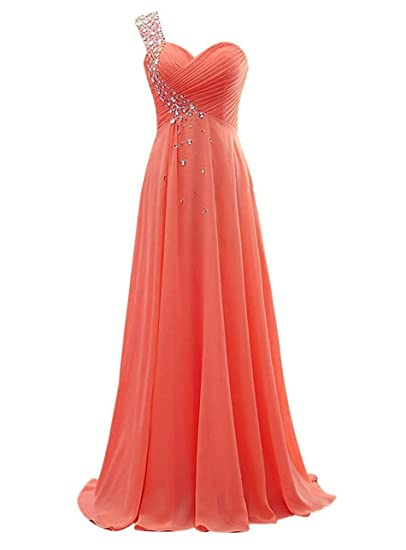 WAWALI Crystal One Shoulder Prom Dresses Evening Party Gowns 6 Coral