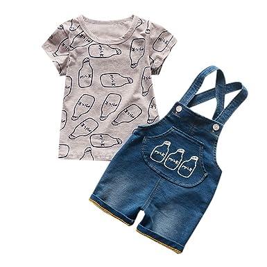 0e5d9811b53a Amazon.com  Jchen(TM) Little Kids Denim Outfits Boys Girls Short ...