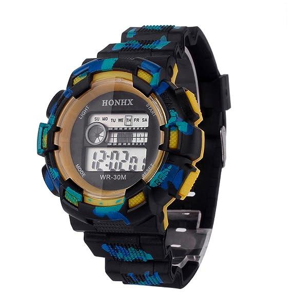 Relojes inteligentes para Hombres moda Camuflaje Los relojes electrónicos Resistente contra Agua Luminoso Multifunciones Deportivos Casuales Esquí ...