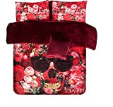 Luk Oil 4pcs Home Textile Single/double Red Roses Skull Duvet Cover Sets Winter Warm Velet Bedding Set of 4 (1 Duvet Cover, 1 Bed Sheet, 2 Pillow Cases)
