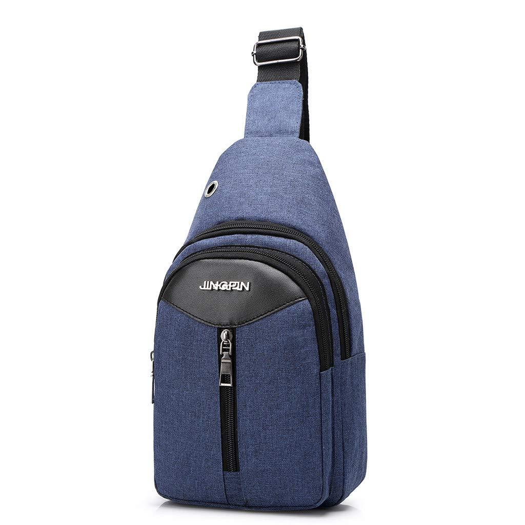 Men Fashion Outdoor Solid Versatile Shoulder Bag Messenger Bag Chest BagHandbags&Clutches&Evening Bags