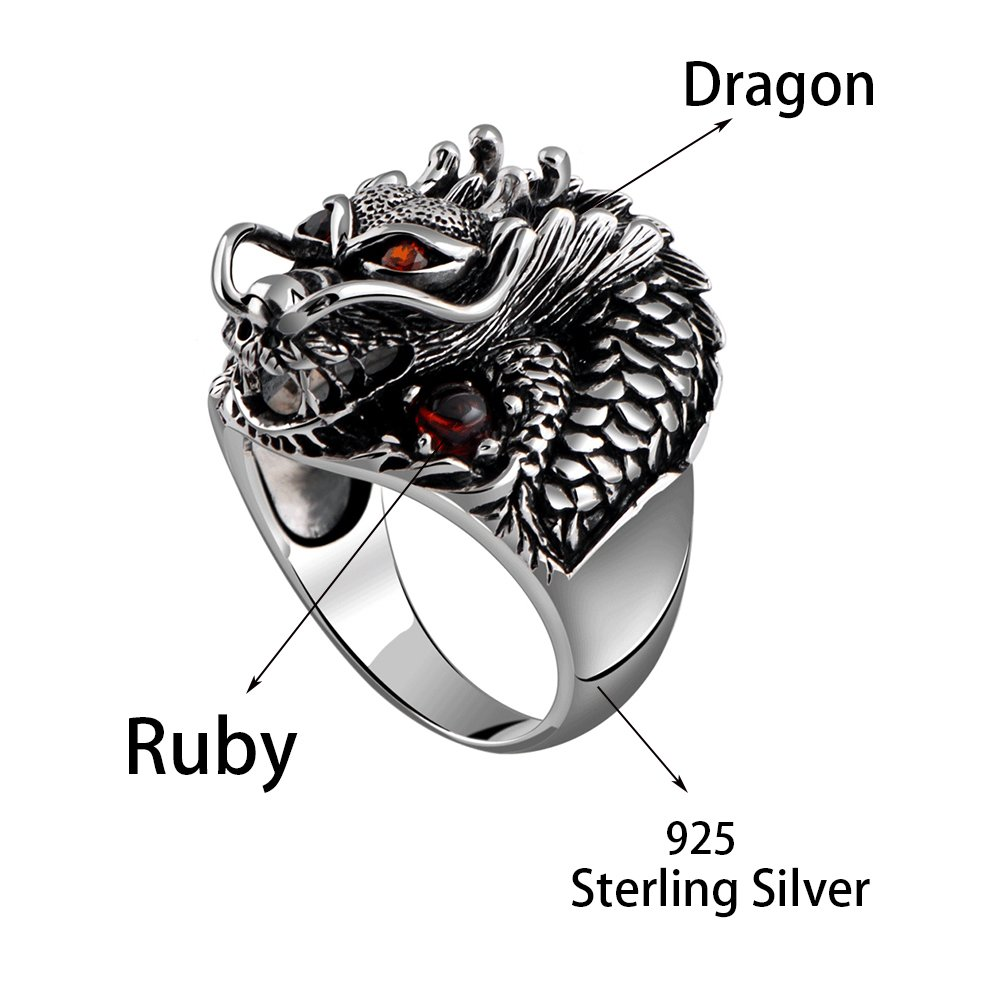 MetJakt Vintage 925 Sterling Silver Domineering Dragon Ring with Ruby Punk Rock Rings for Men's Fine Jewelry (12) by MetJakt (Image #1)