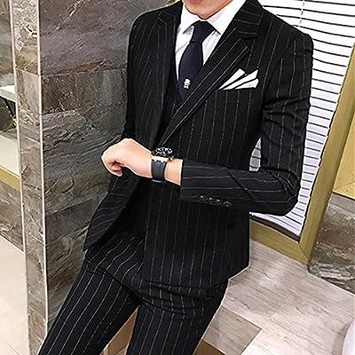 37bf82a4a5ee1 ビジネススーツ ストライプ スタイリッシュスーツ メンズスーツ 3点セット スーツ メンズスーツ 3ピース スリムスーツ セットアップ スーツ メンズ  フォーマルスーツ 3 ...