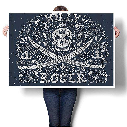 Wall Art Painting Pirates Jolly Roger Flag Sailor Symbols Crossed Swords Theme On Canvas Modern Decoration Print Decor for Living Room,44