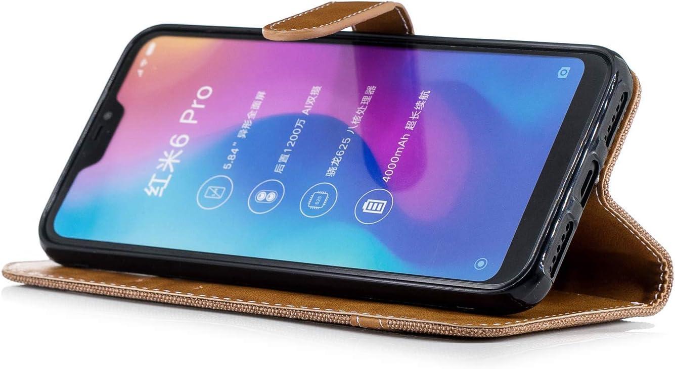 LOBFE12806 Black Xiaomi Redmi 6Pro Case Lomogo Leather Wallet Case with Kickstand Card Holder Shockproof Flip Case Cover for Xiaomi Redmi 6 Pro//Mi A2 Lite