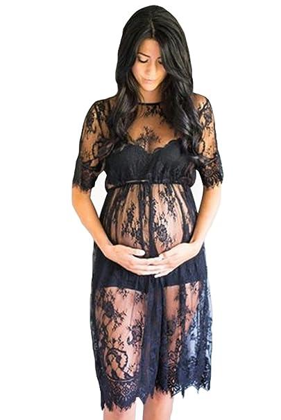 NiSeng Schwangere Frauen Wimpern Spitze kurze Ärmel Kleid Schwangere ...