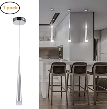 Harchee Mini Modern Pendant Light in Silver Brushed Finish with Acrylic  Shade, Adjustable LED Cone Pendant Lighting Fixture for Kitchen Island,  Dining ...