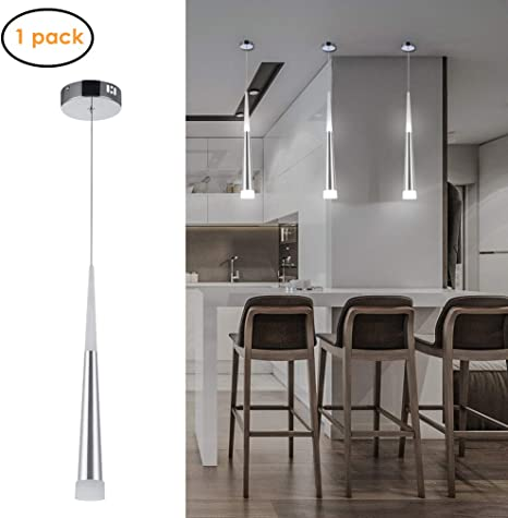 Harchee Mini Modern Pendant Light In Silver Brushed Finish With Acrylic Shade Adjustable Led Cone Pendant Lighting Fixture For Kitchen Island Dining