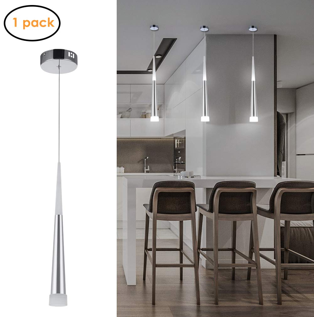 Harchee Mini Modern Pendant Light in Silver Brushed Finish with Acrylic Shade, Adjustable LED Cone Pendant Lighting for Kitchen Island, Dining Rooms, Living Room, Bar, 6W, Daylight White 6000K