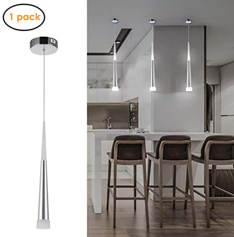 Harchee Mini Modern Pendant Light in Silver Brushed Finish with Acrylic  Shade, Adjustable LED Cone Pendant Lighting for Kitchen Island, Dining  Rooms, ...