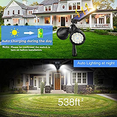 Motion Sensor Solar Spot Lights Outdoor, 1000 Lumens Bright Landscape Light 36 LED Waterproof Wall Lamps & 4 Modes for Garden Patio Garage Driveway