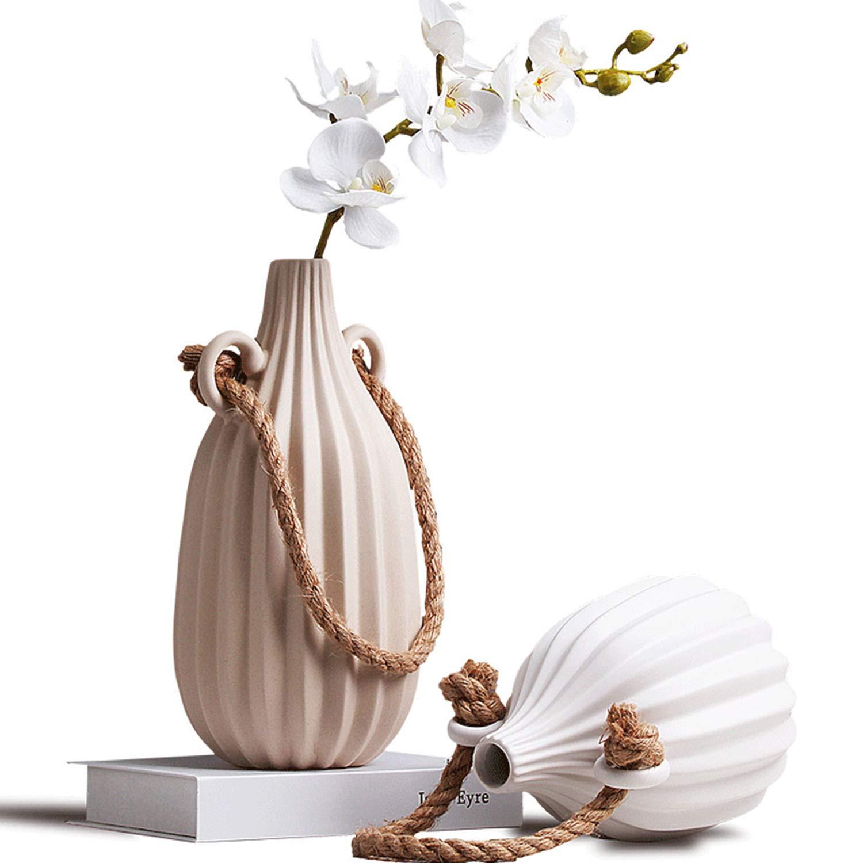 北欧の陶器の花瓶、手作りのデザイン創造的なヒップフラスコスタイルの家の装飾、ツーピース B07SPRWZR5