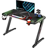 EUREKA ERGONOMIC Z2 Gaming Desk 50.6'' Z Shaped Office PC Computer Gaming Table with Retractable Cup Holder Headset Hook…