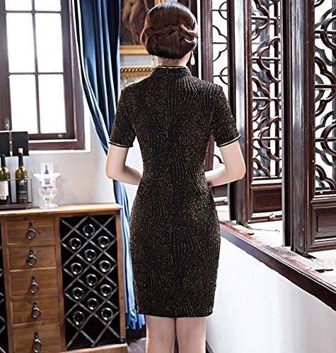Avec Classique Courte Femme Manche Polyester Acvip En Jaune Soirée Pour Robe Cheongsam Asiatique Party Elégant Qipao xXd0Bw