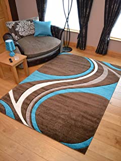 Super Verso Brown Teal Cream Modern Hand Carved Dense Rug. Available In 6  Sizes (